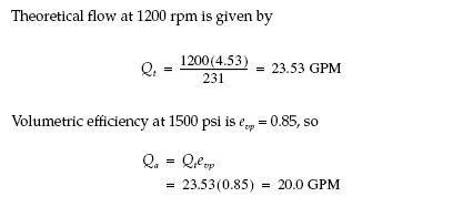 Efficiency formula of pump