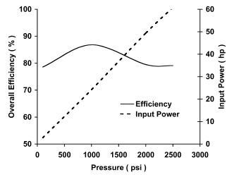 vane pump overall efficiency 1800 rpm
